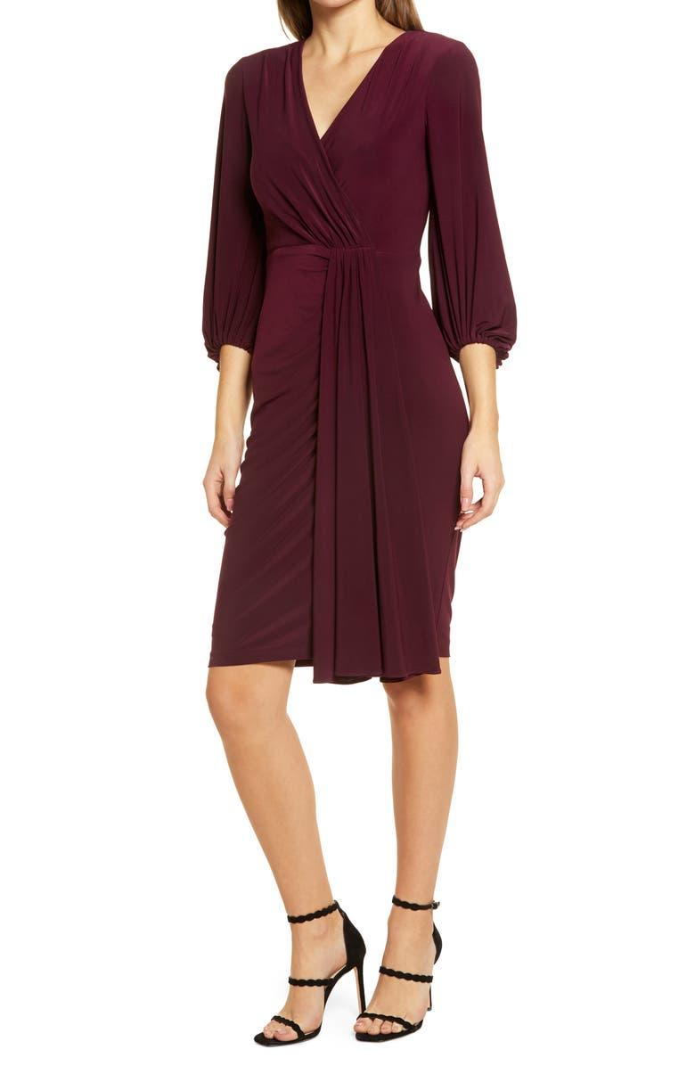 ELIZA J Wrap Look Long Sleeve Dress, Main, color, WINE