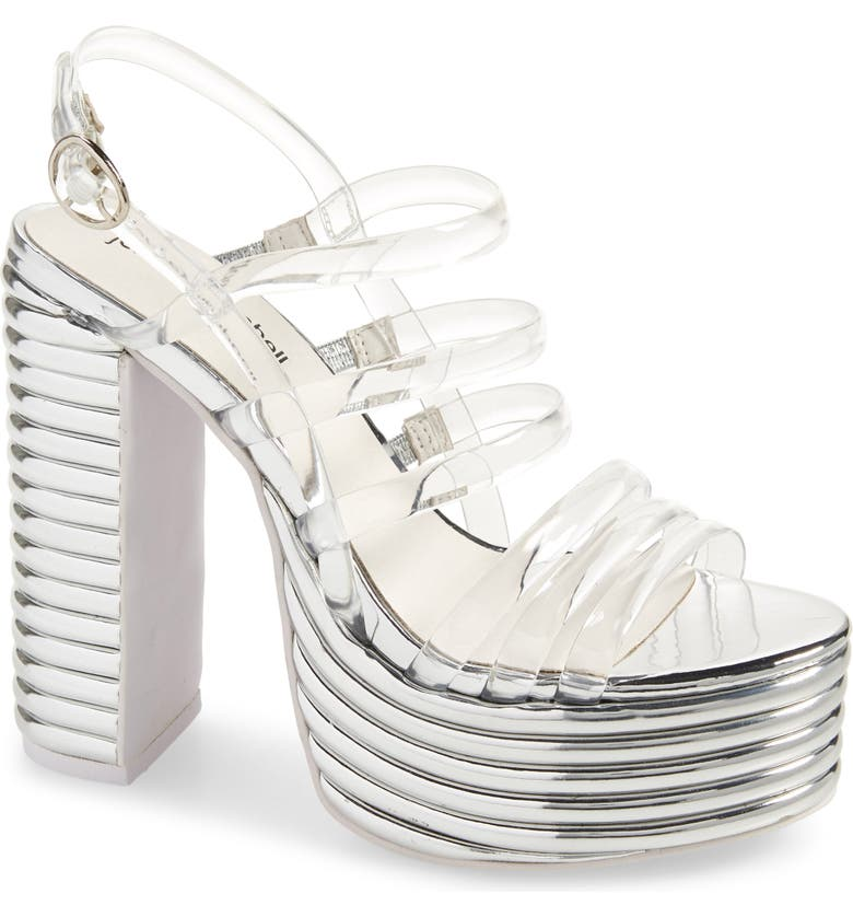 JEFFREY CAMPBELL Abba Platform Sandal, Main, color, CLEAR SILVER