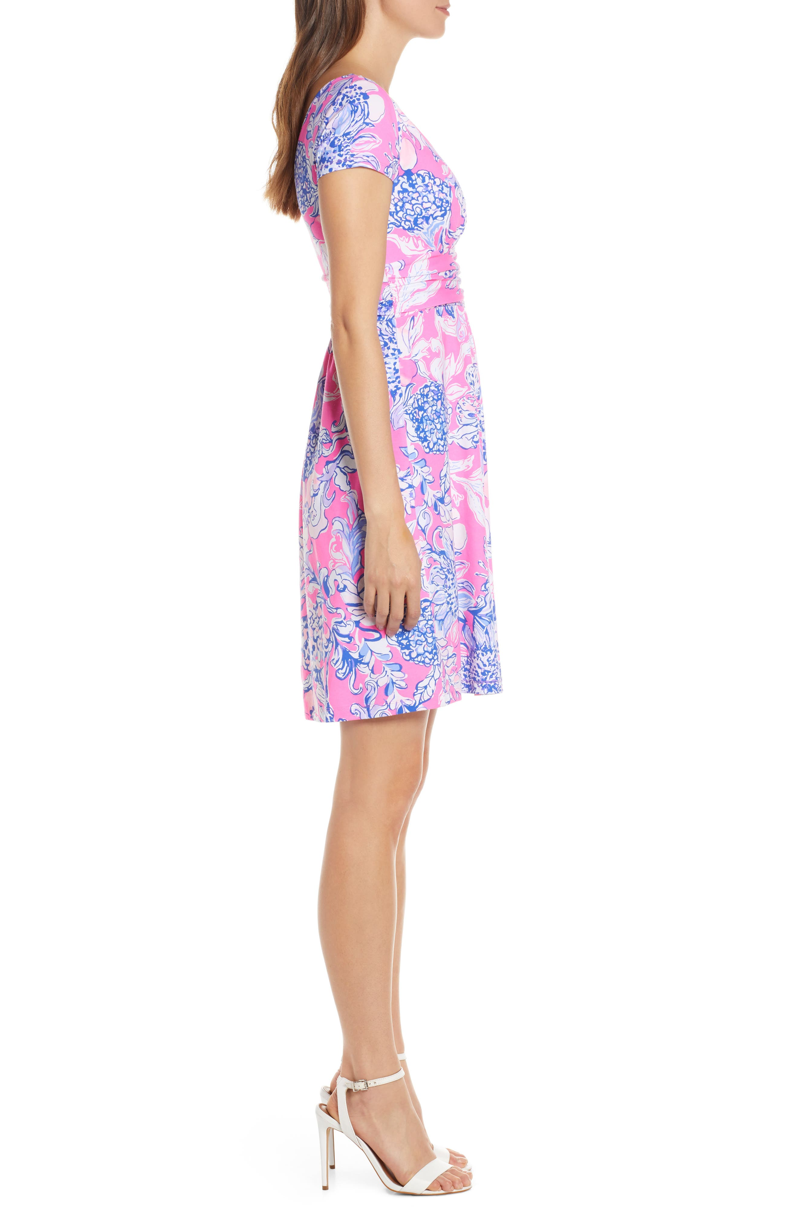 ,                             Lilly Pulizter<sup>®</sup> Winslow Print Surplice Dress,                             Alternate thumbnail 3, color,                             PINK TROPICS SUN DRENCHED