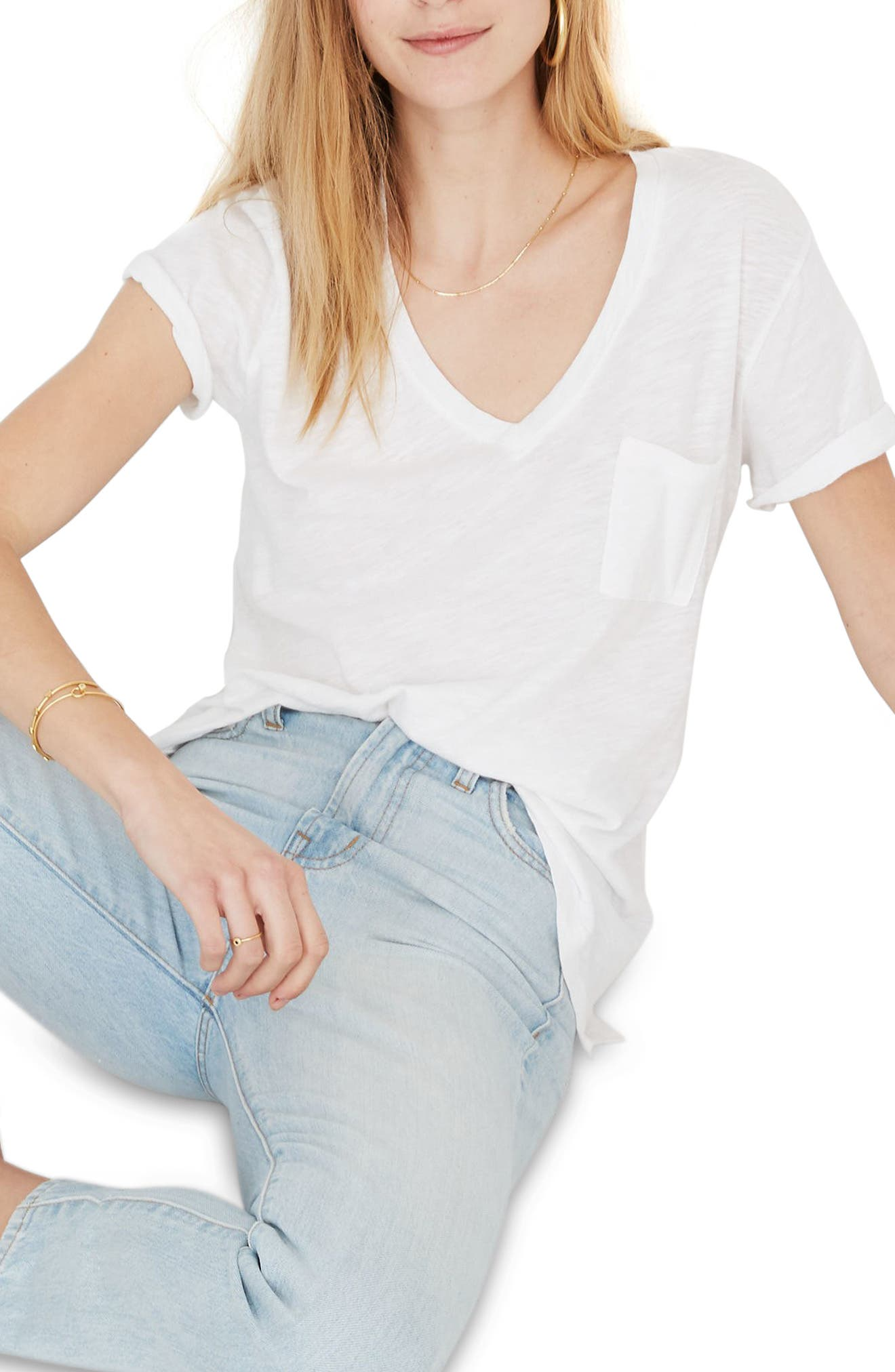 Women s Madewell Whisper Cotton V Neck Pocket Tee