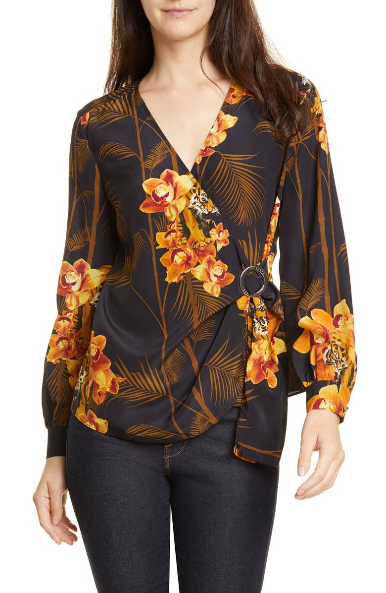 TED BAKER LONDON Annikah Silk Wrap Top, Main, color, 410