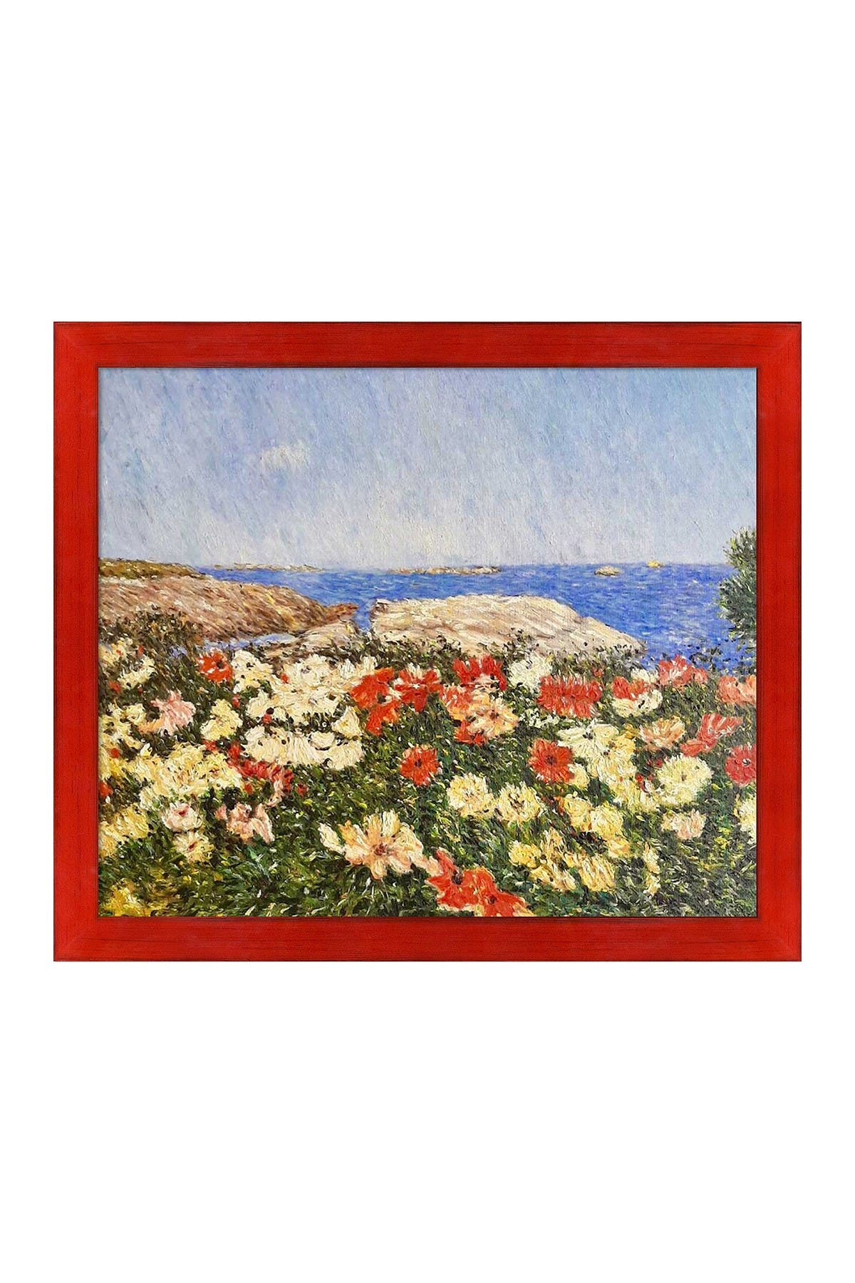 Overstock Art Poppies on the Isles of Shoals with Stiletto Red Frame, 23.5\\\