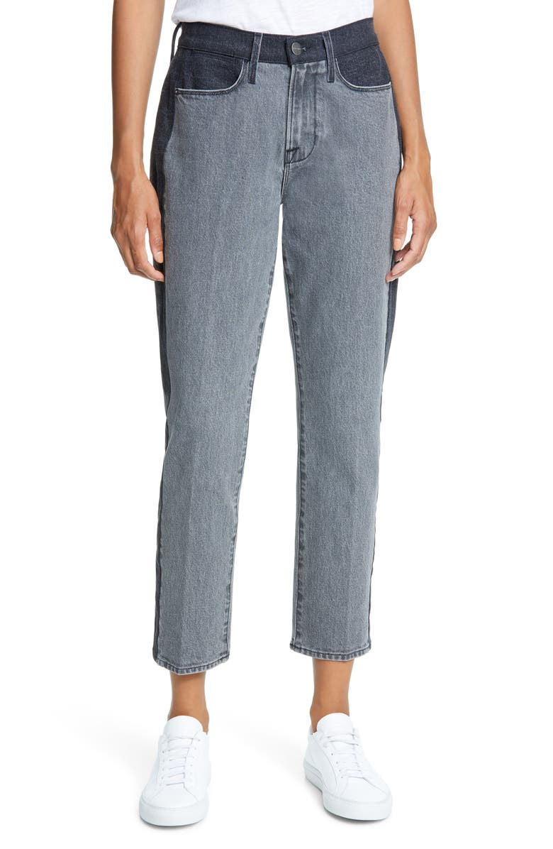 FRAME Le High Insert Block Ankle Straight Jeans, Main, color, WOODSILVER DUO