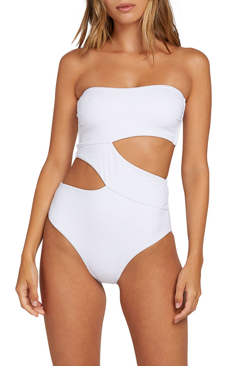 VOLCOM Simply Seamless One-Piece Swimsuit, Main, color, WHITE