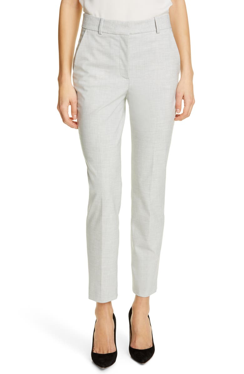 TAILORED BY REBECCA TAYLOR Clean Suiting Trousers, Main, color, LIGHT HEATHER GREY