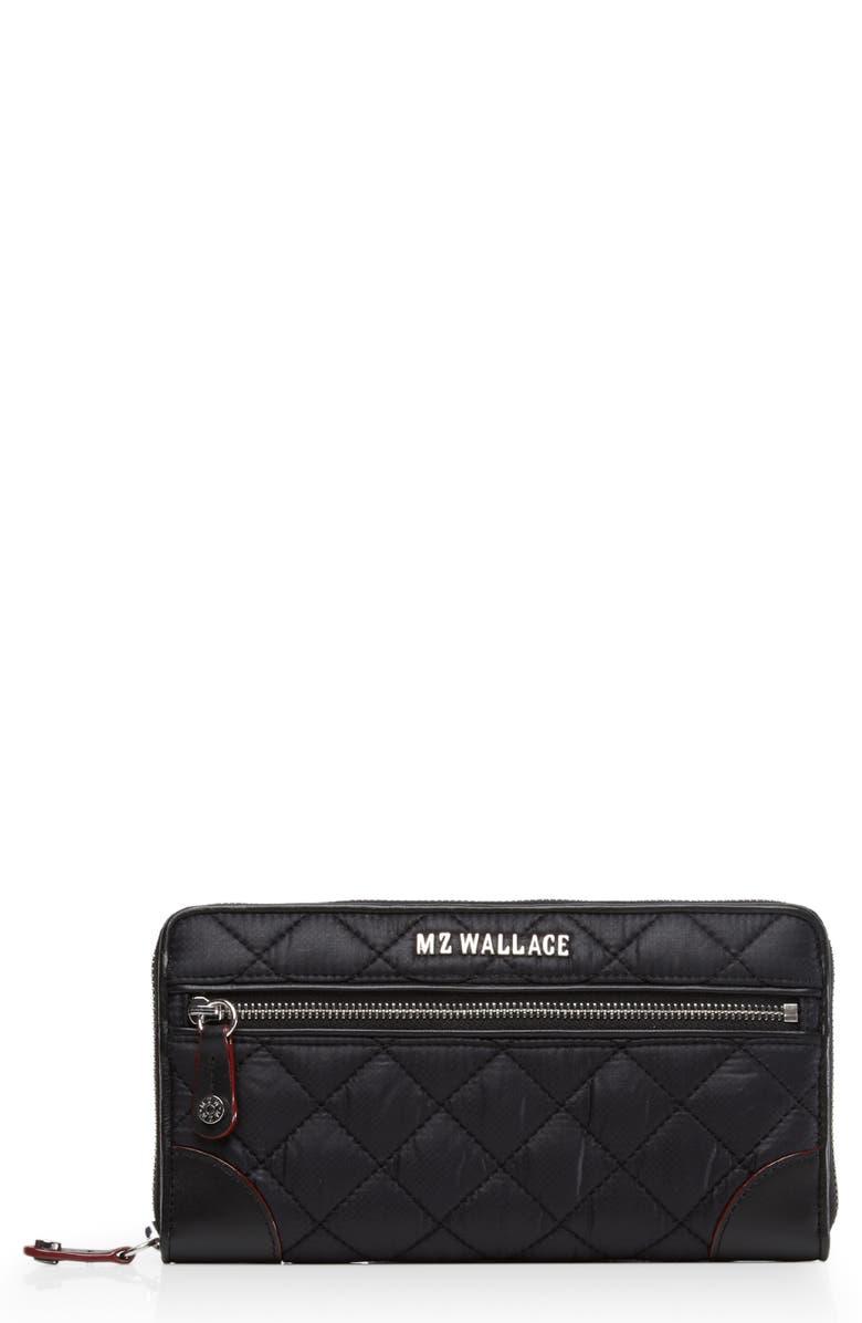 MZ WALLACE Long Crosby Wallet, Main, color, BLACK