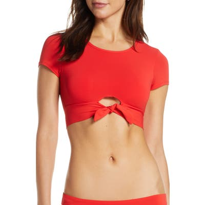 Robin Piccone Ava Knot Front Tee Bikini Top, Red