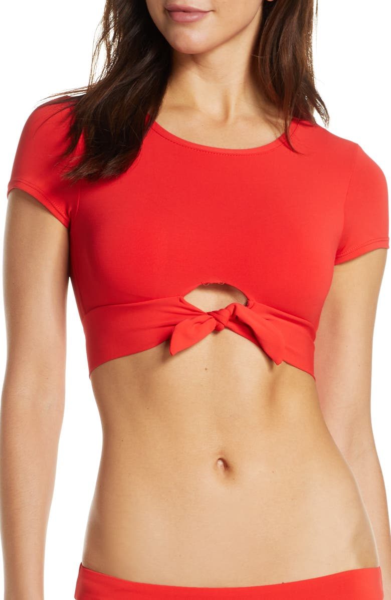 ROBIN PICCONE Ava Knot Front Tee Bikini Top, Main, color, FIERY RED