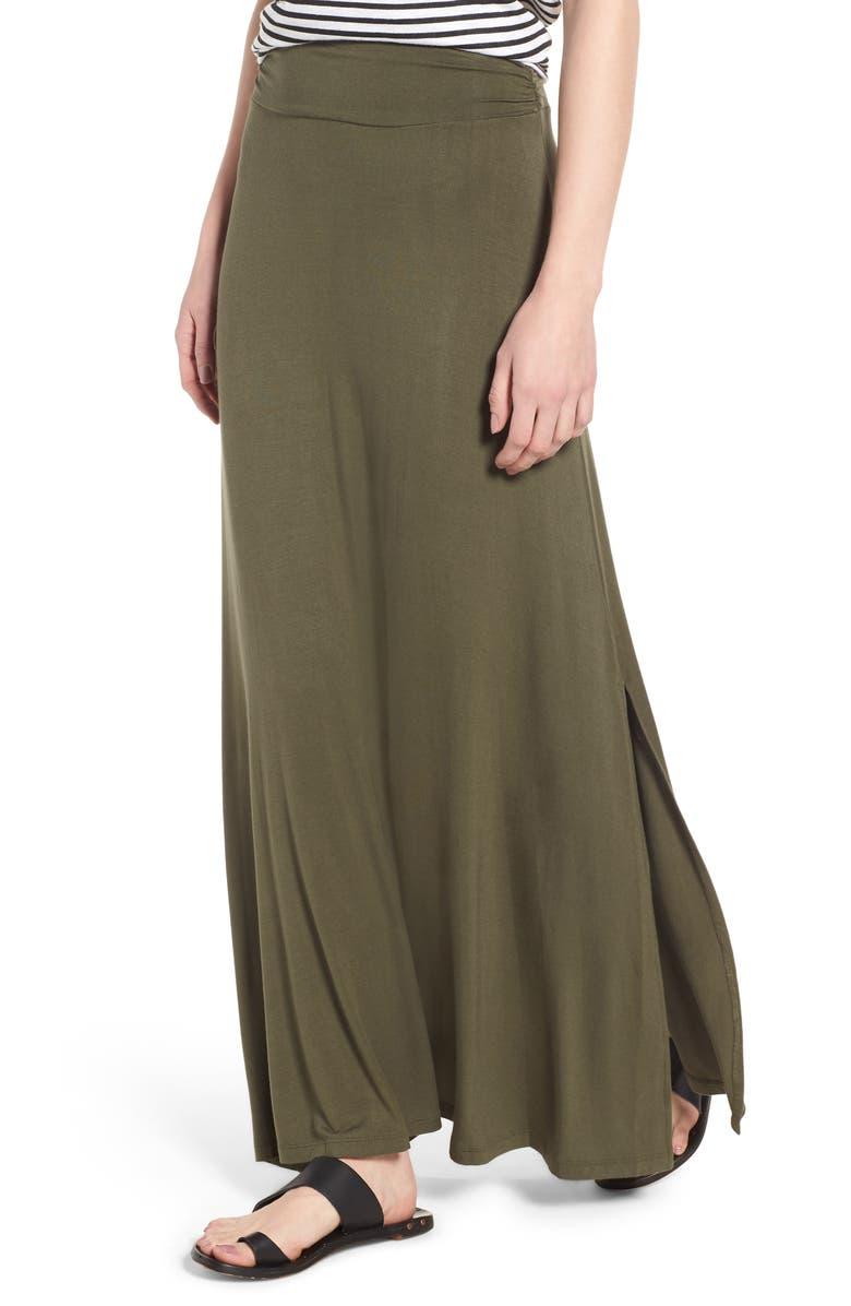 BOBEAU Ruched Waist Side Slit Maxi Skirt, Main, color, OLIVE