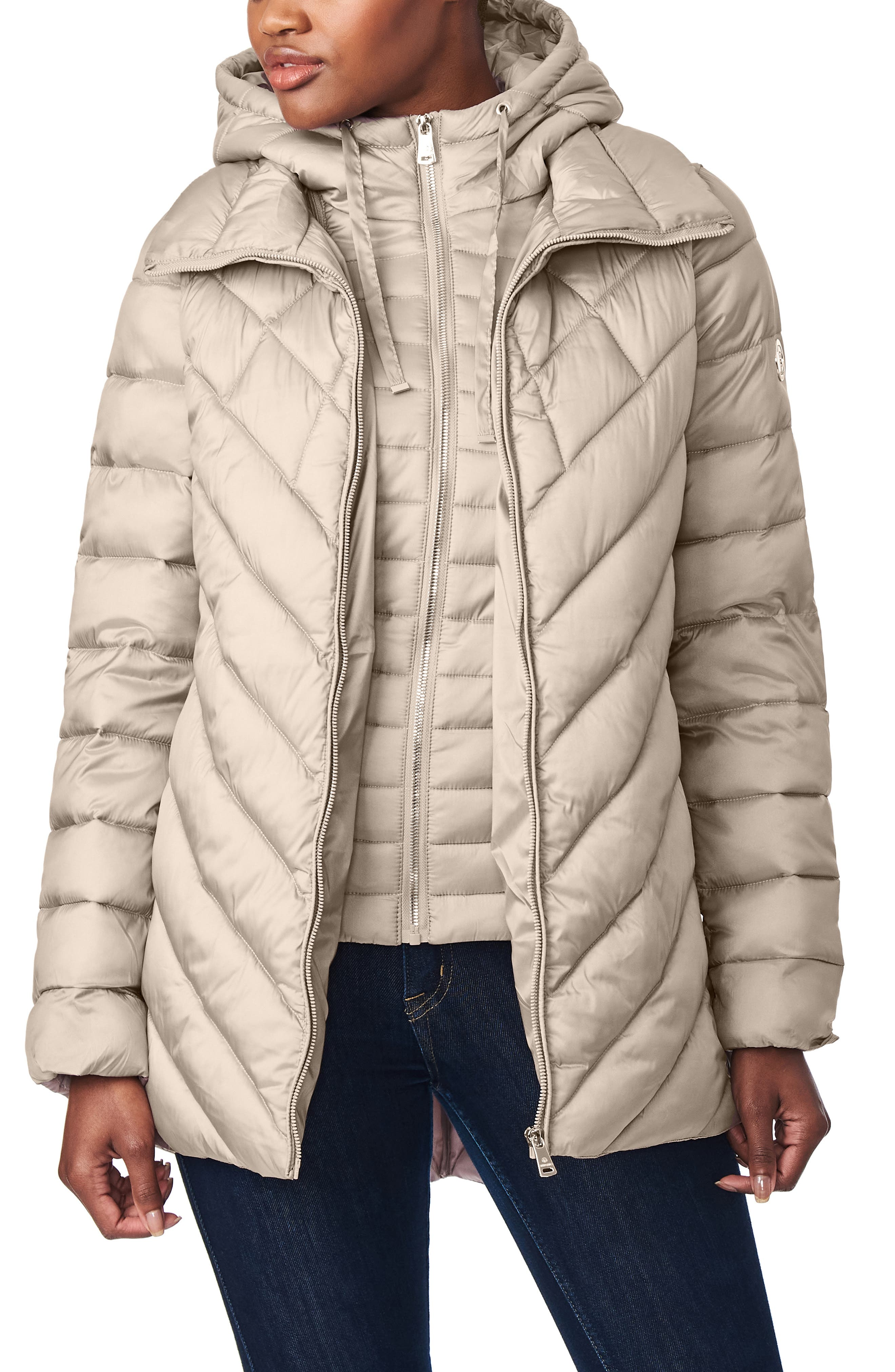 Asymmetrical Channel Quilted Jacket With Hooded Bib Inset