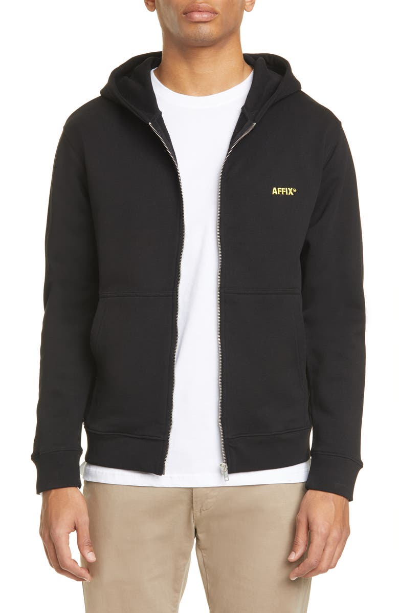 AFFIX Logo Embroidered Cotton Zip Hoodie, Main, color, BLACK