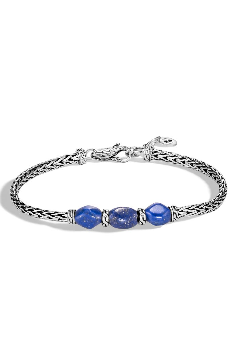 JOHN HARDY Classic Chain Slim Triple-Stone Bracelet, Main, color, SILVER/ LAPIS LAZULI