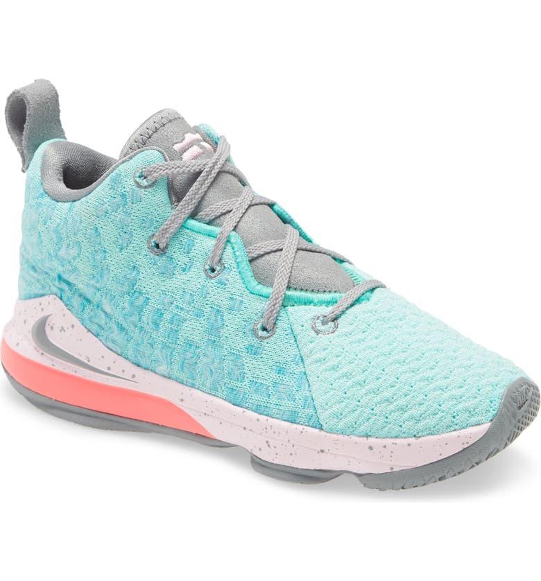 NIKE LeBron XVII Basketball Shoe, Main, color, LIGHT AQUA/ GREY-PINK FOAM