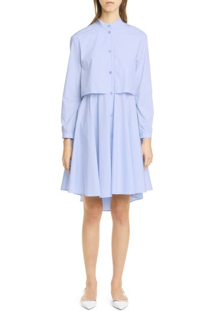 Emporio Armani FAUX TWO-PIECE LONG SLEEVE COTTON SHIRTDRESS