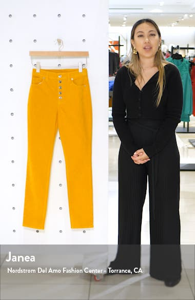 Button Front Corduroy Skinny Pants, sales video thumbnail