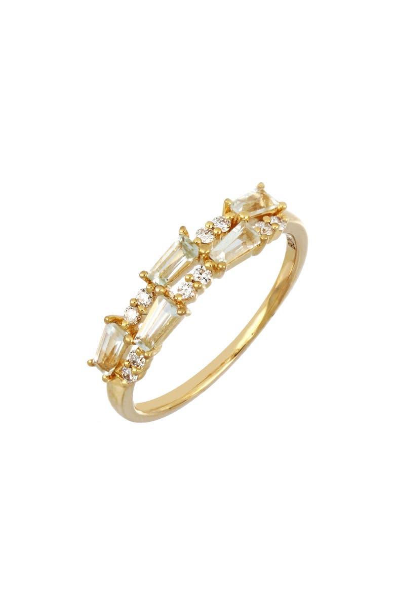 BONY LEVY Two-Row Green Tourmaline & Diamond Ring, Main, color, YELL GOLD/ GRN TOURMA/DIAM