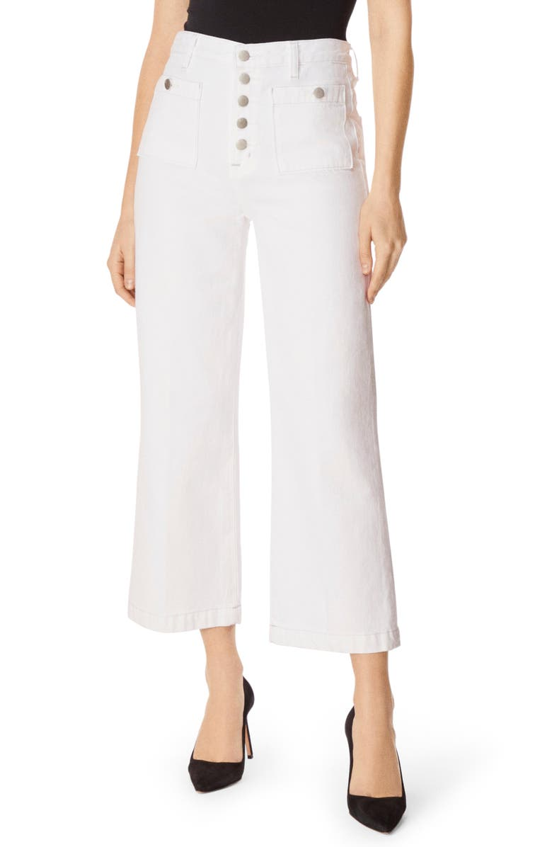 J BRAND Joan Button Fly Crop Wide Leg Jeans, Main, color, WHITE