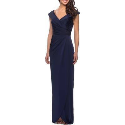 La Femme Surplice Off The Shoulder Gown, Blue