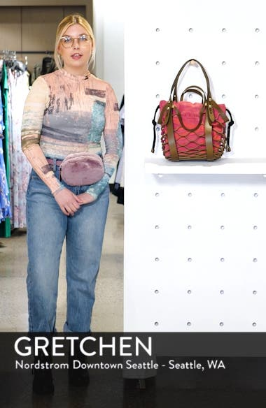 Camden Netted Leather Shopper with Suede Drawstring Bag, sales video thumbnail