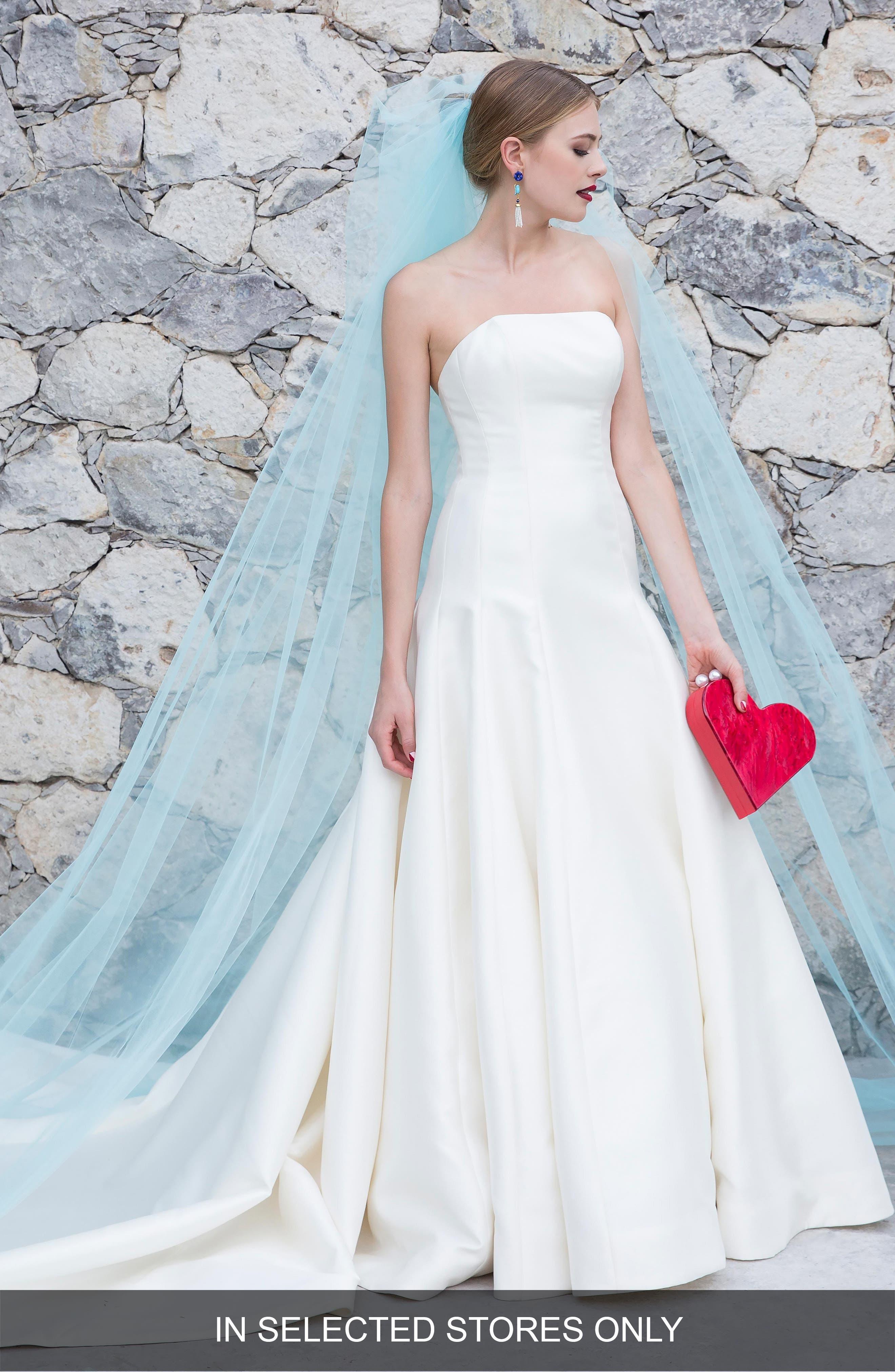 Watters Laska Strapless Silk Mikado Ballgown, Size - Ivory