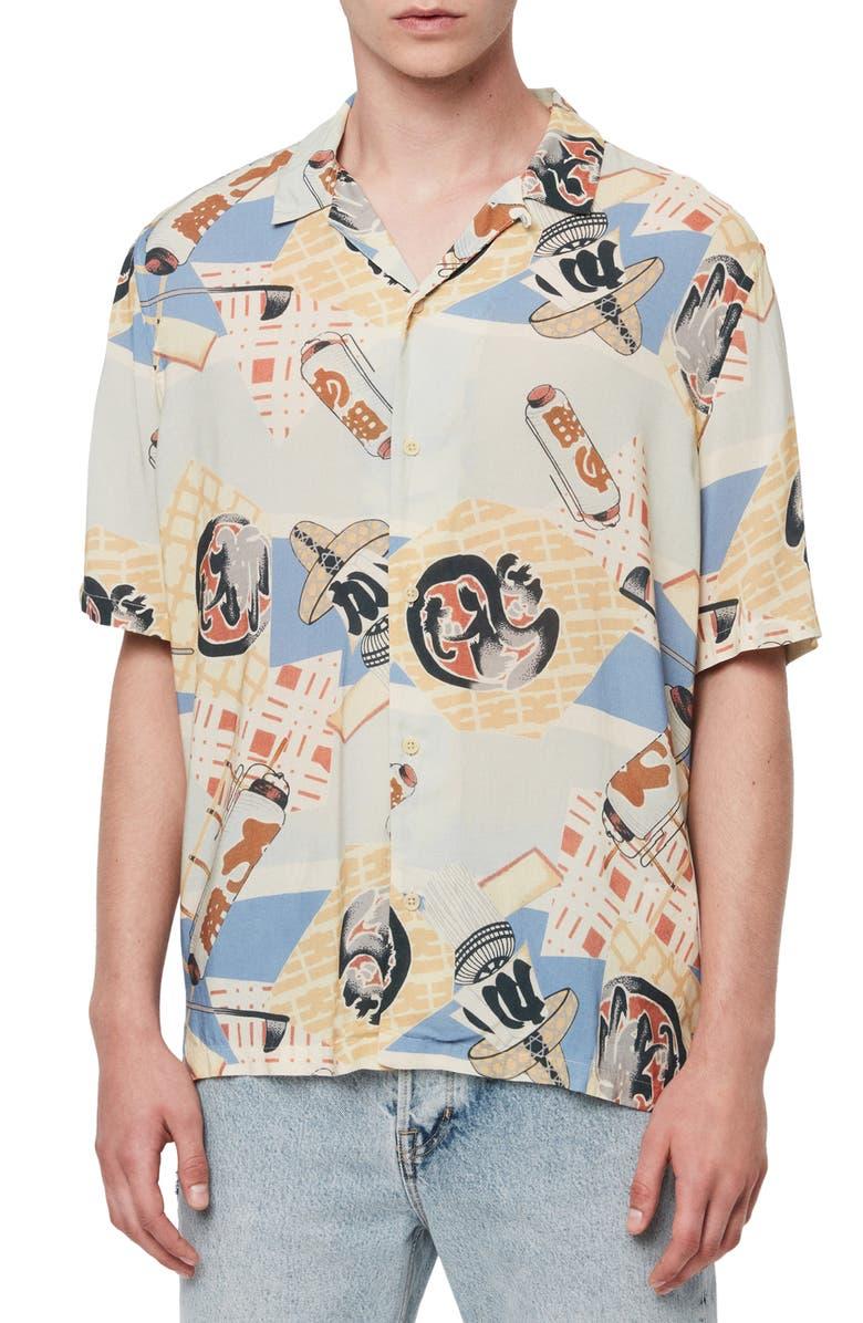 ALLSAINTS Scroll Slim Fit Print Short Sleeve Button-Up Sport Shirt, Main, color, BLUE