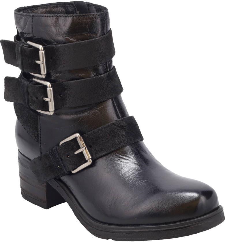 MIZ MOOZ Skye Buckle Boot, Main, color, BLACK LEATHER