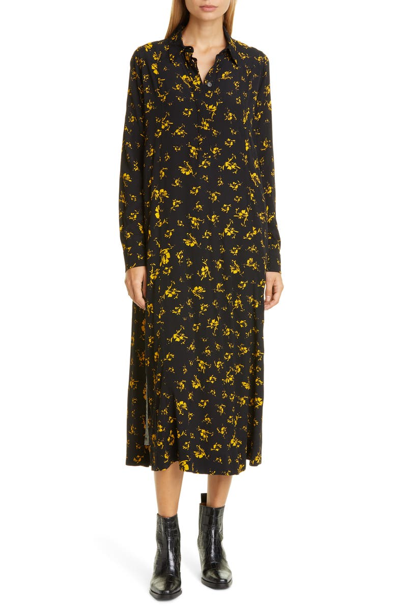 GANNI Floral Print Crepe Long Sleeve Midi Dress, Main, color, BLACK