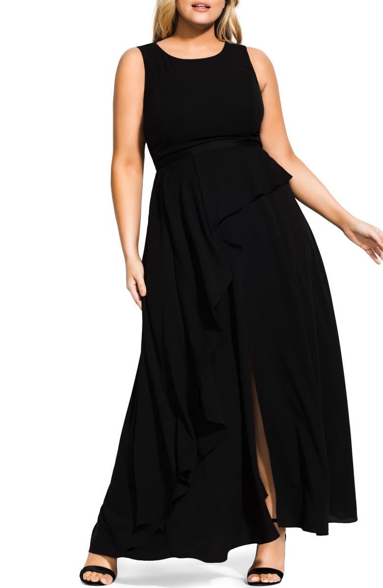 CITY CHIC Antilla Maxi Dress, Main, color, BLACK