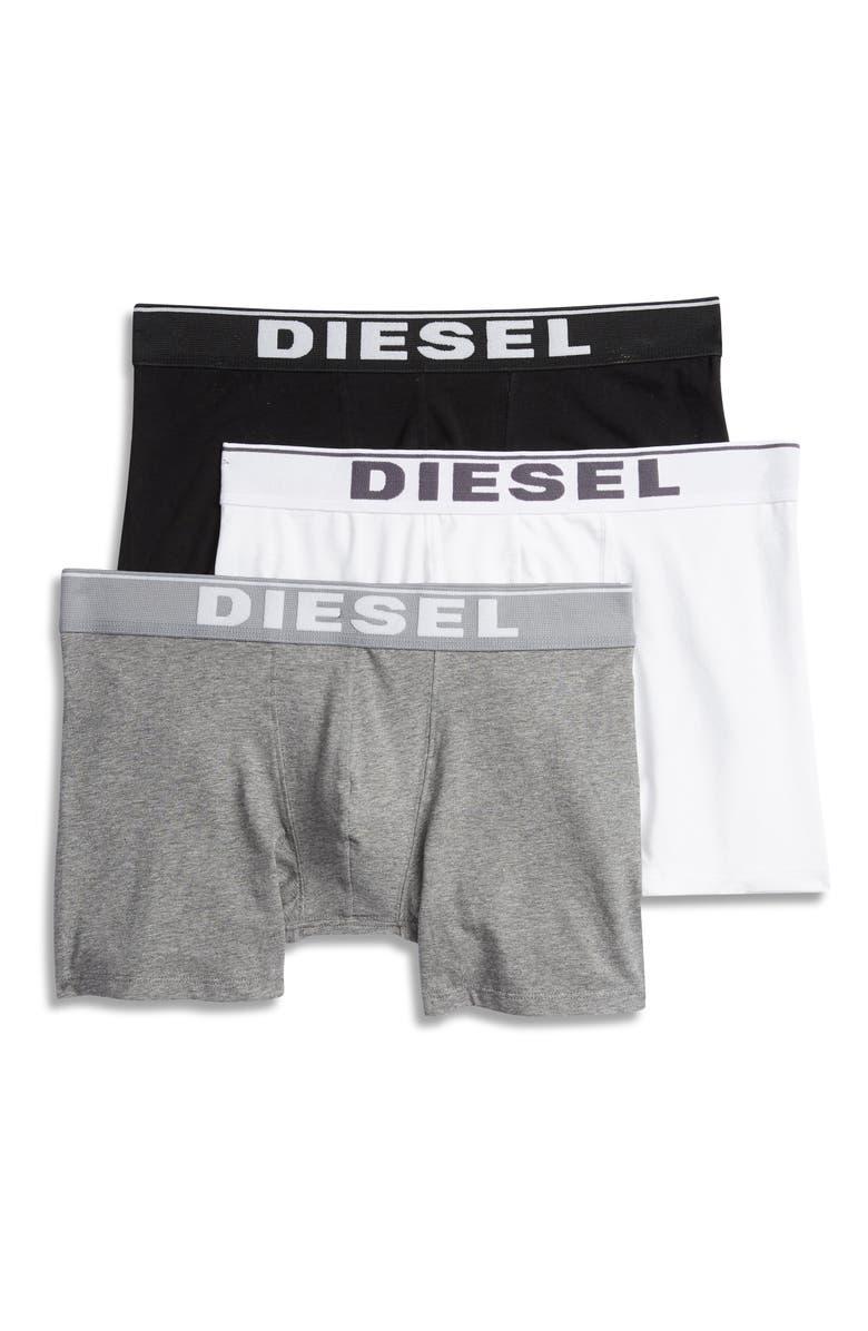 DIESEL<SUP>®</SUP> UMBX Sebastian 3-Pack Stretch Cotton Boxer Briefs, Main, color, BLACK/ WHITE/ GREY