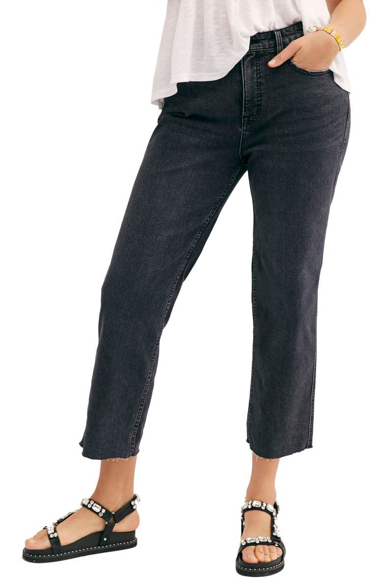 FREE PEOPLE CRVY by Free People High Waist Crop Jeans, Main, color, BLACK