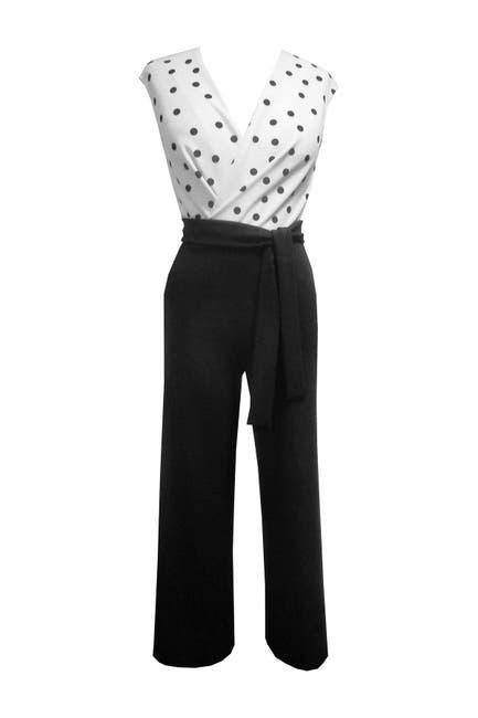 Image of Sandra Darren Polka Dot Cap Sleeved Jumpsuit