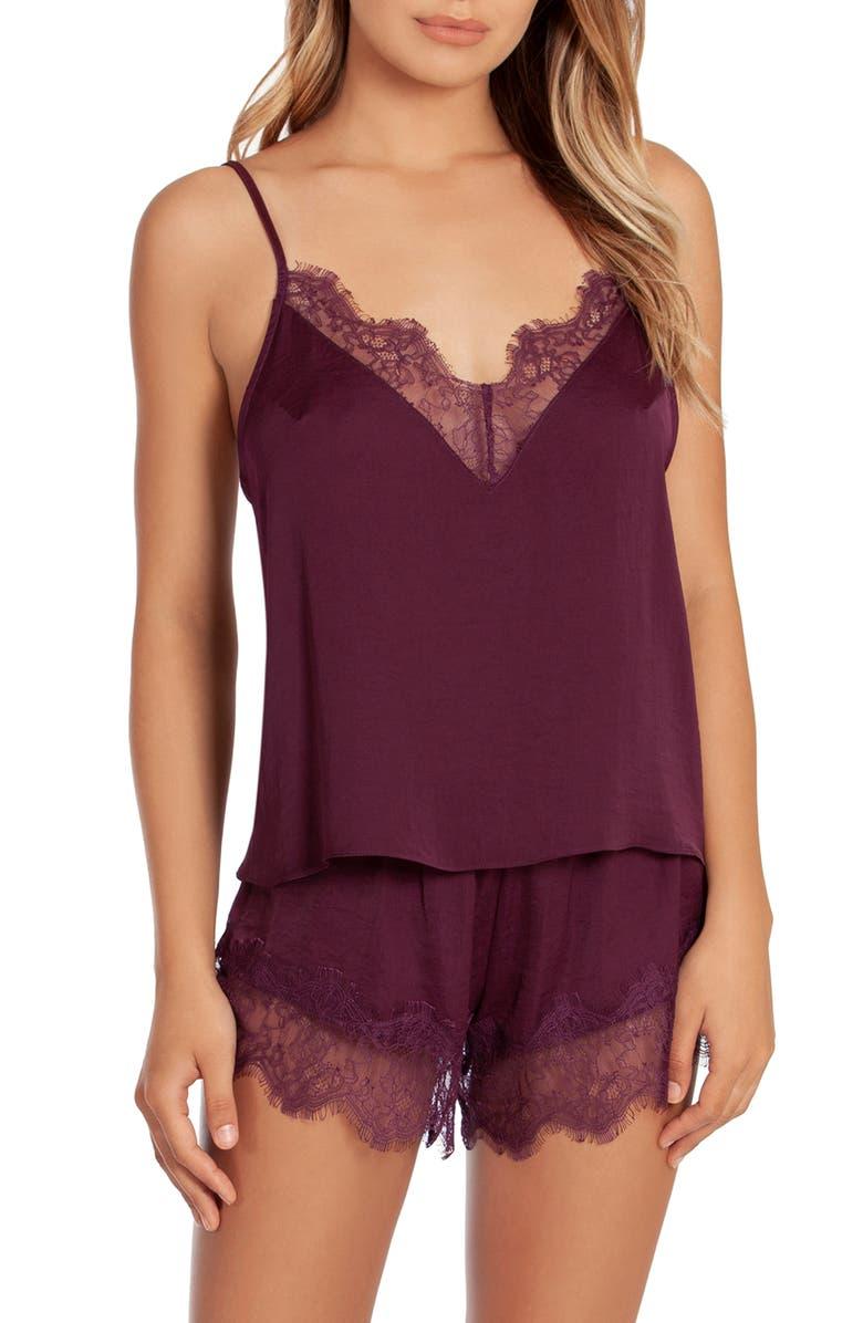 MIDNIGHT BAKERY Rose Noir Lace Trim Pajamas, Main, color, 500