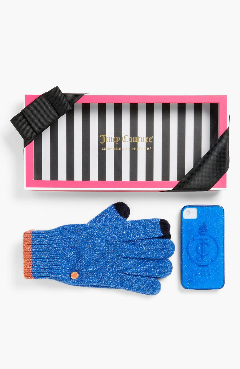 JUICY COUTURE Tech Gloves & iPhone 4 & 4S Case, Main, color, BRIGHT LAPIS