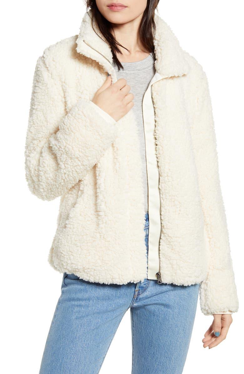 THREAD & SUPPLY Wubby Fleece Zip Jacket, Main, color, CREAM