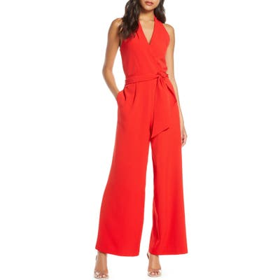Julia Jordan Surplice Wide Leg Crepe Jumpsuit, Red