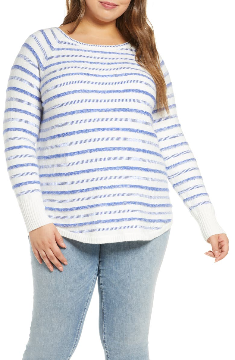 CASLON<SUP>®</SUP> Stripe Scoop Neck Sweater, Main, color, WHITE- BLUE DASHED STP