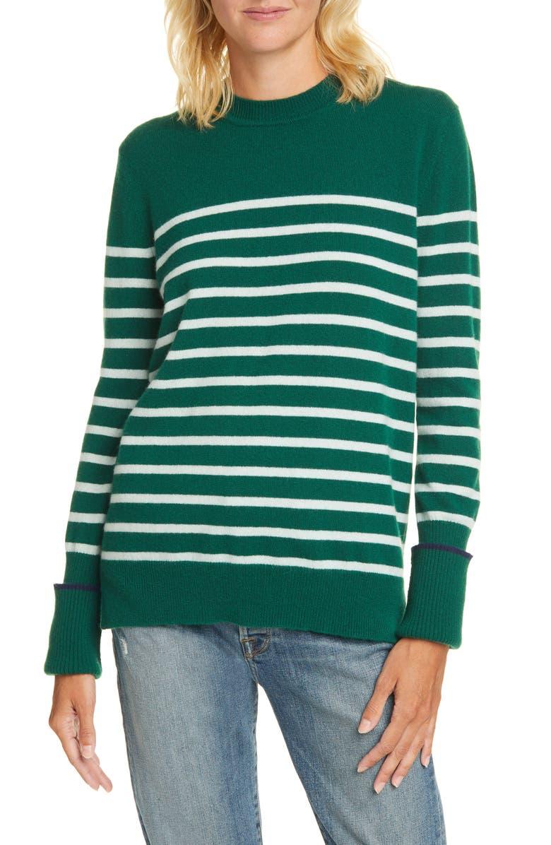 LA LIGNE AAA Lean Lines Cashmere Sweater, Main, color, GREEN/ MINT/ NAVY