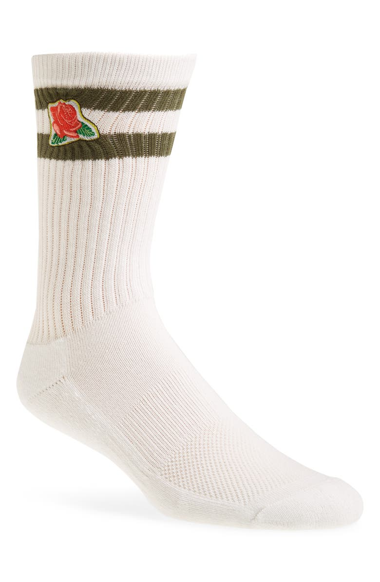 THE RAIL Embroidered Icon Crew Socks, Main, color, WHITE- GREEN ROSE