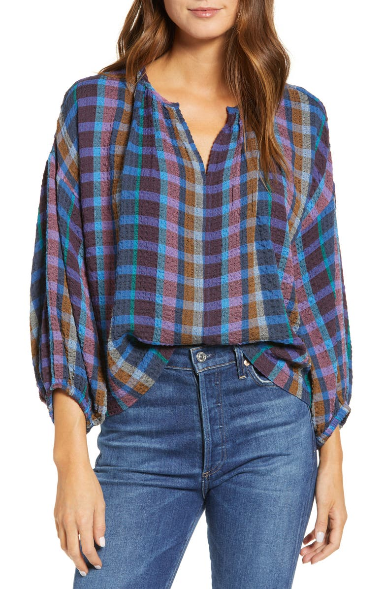 LOU & GREY Soft Crinkle Plaid Blouse, Main, color, 501