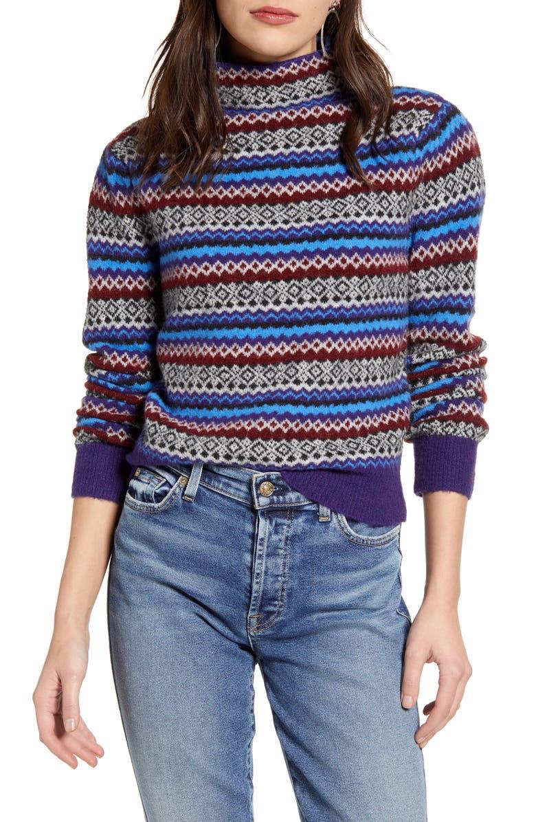 TREASURE & BOND Fair Isle Funnel Neck Sweater, Main, color, 420
