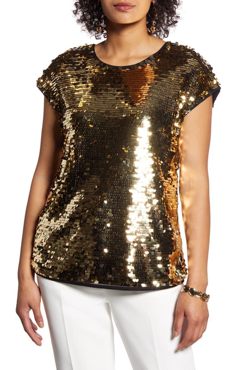 HALOGEN<SUP>®</SUP> Sequin Cap Sleeve Top, Main, color, GOLD