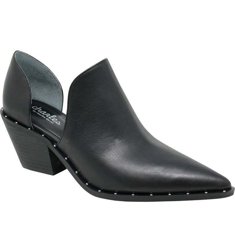 CHARLES BY CHARLES DAVID Parson Studded Pointed Toe Bootie, Main, color, BLACK LEATHER