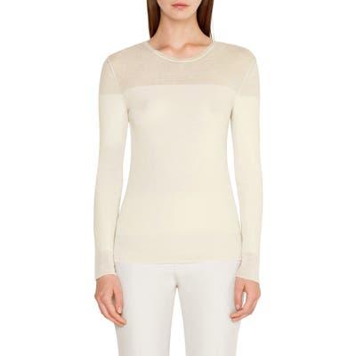 Akris Rib Wool & Silk Sweater, White