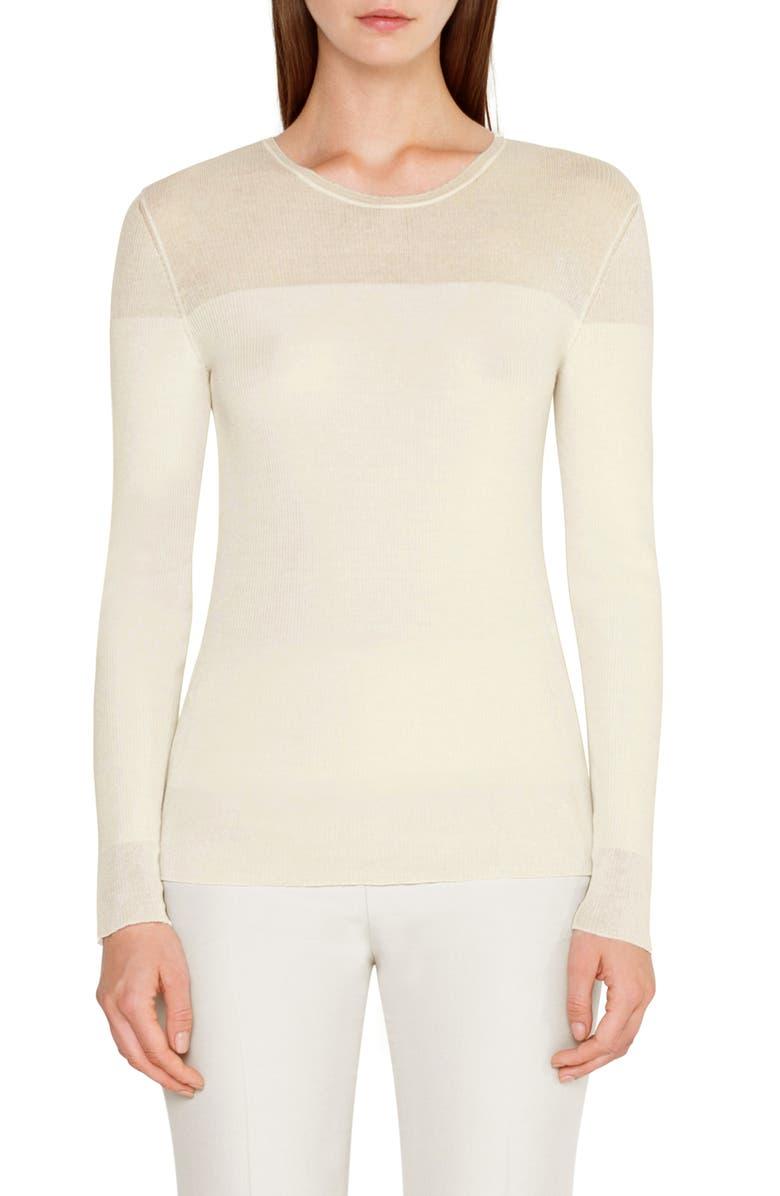 AKRIS Rib Wool & Silk Sweater, Main, color, JASMINE