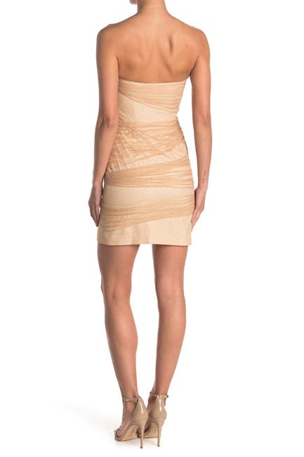 Image of HALSTON Strapless Fitted Layered Dress
