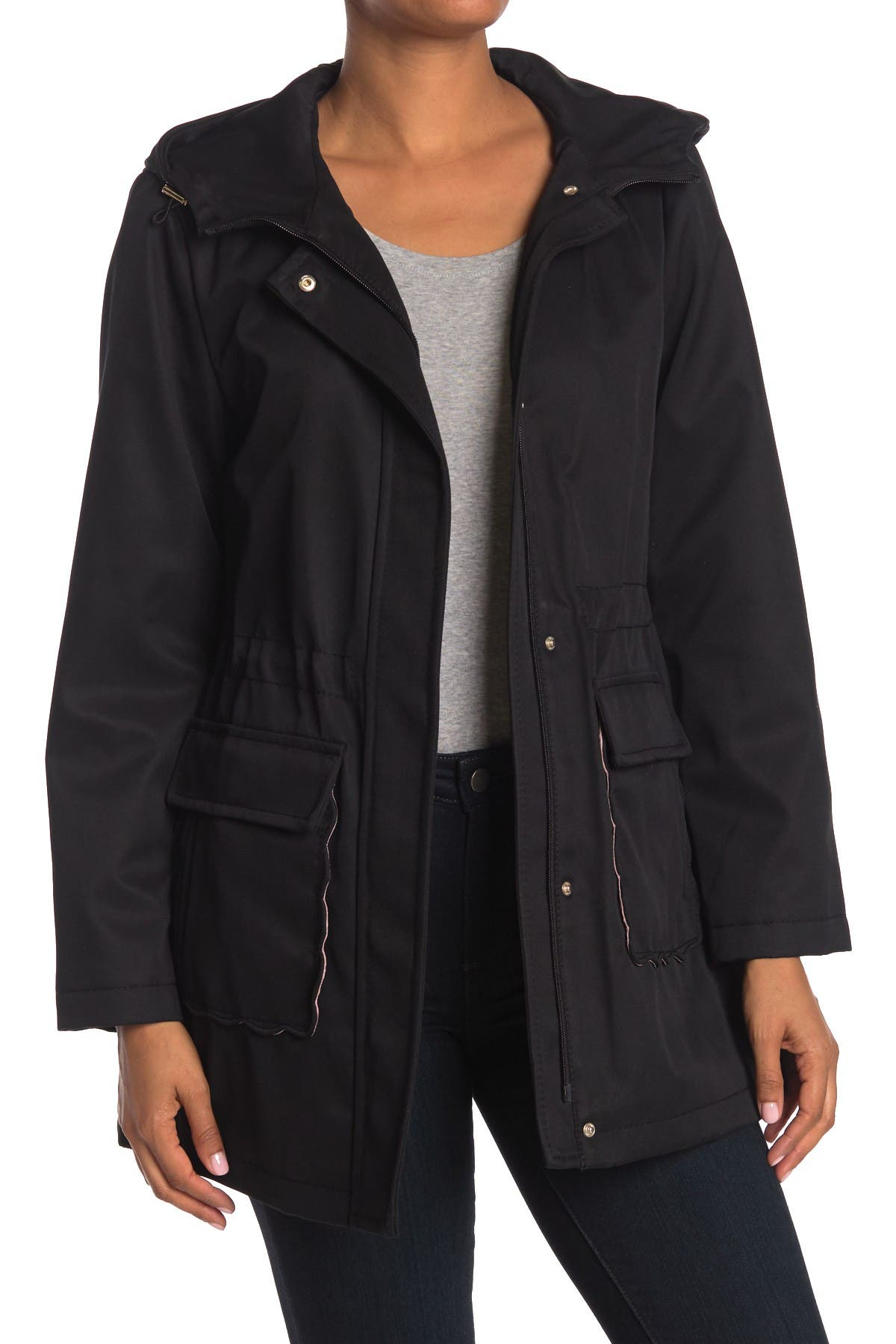 Image of kate spade new york hooded water resistant trench coat