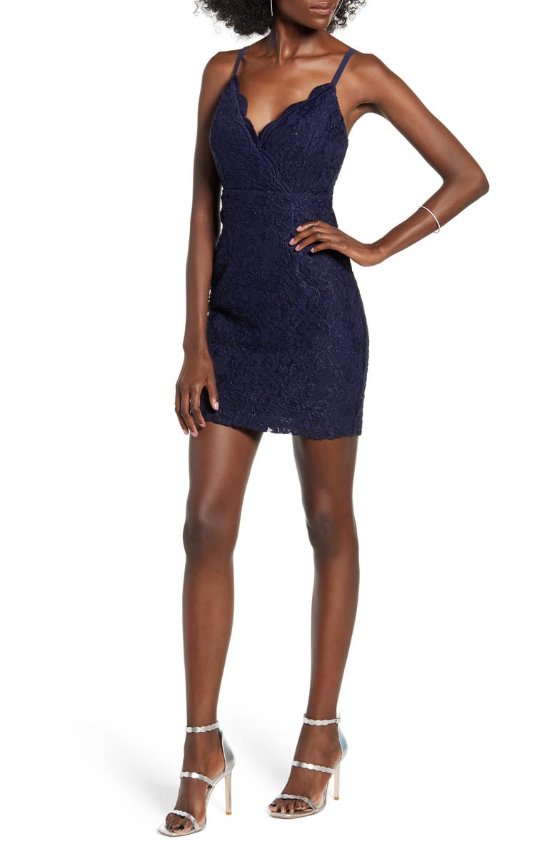 SPEECHLESS Glitter Lace Sleeveless Minidress, Main, color, NAVY