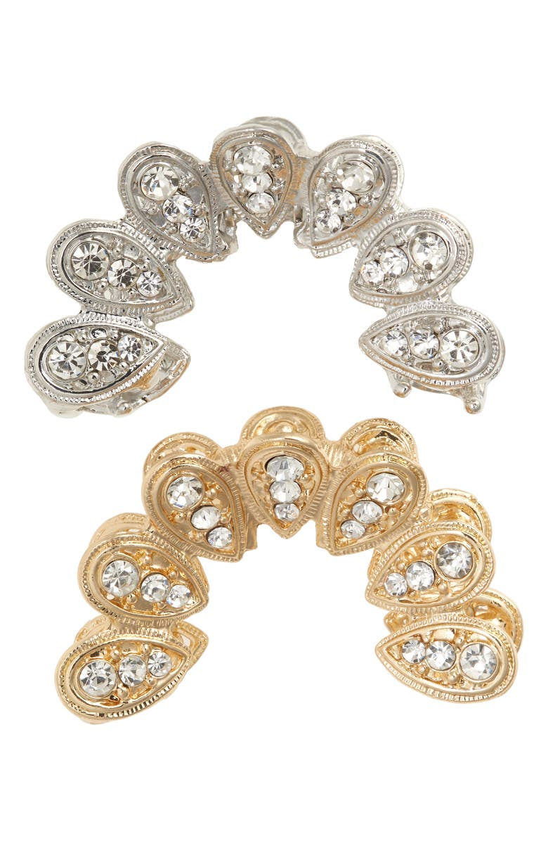 TASHA 2-Pack Crystal Jaw Clips, Main, color, SILVER/ GOLD
