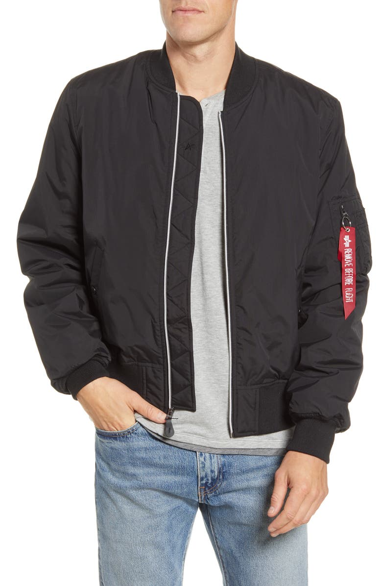 ALPHA INDUSTRIES MA-1 PrimaLoft<sup>®</sup> Water Resistant Bomber Jacket, Main, color, BLACK