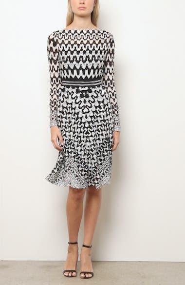 Zigzag Long Sleeve Fit & Flare Dress, video thumbnail